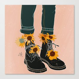 Sunflowers and Boots Canvas Print
