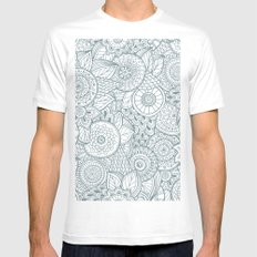 Abstract Floral Pattern Mens Fitted Tee White MEDIUM