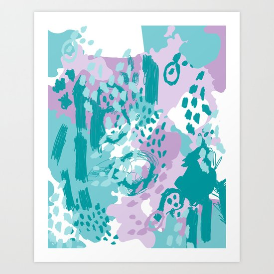 Riley - modern abstract trendy color palette nursery art decor lilac turquoise happy painting Art Print