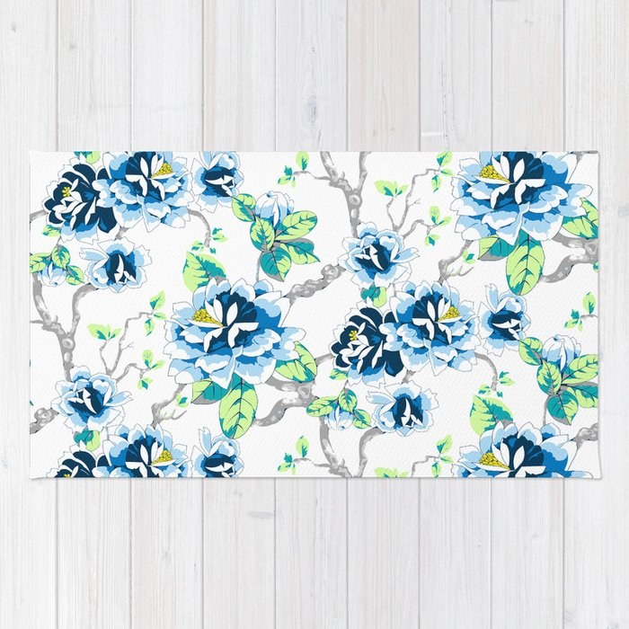 Chinoiserie Ming Style Blue Fl On White Pattern Spring Flowers Shabby Chic Rug