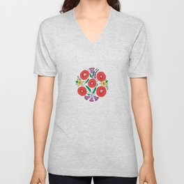 Hungarian embroidery inspired pattern white Unisex V-Neck