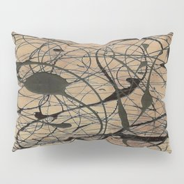 Pollock Inspired Abstract Black On Beige Pillow Sham