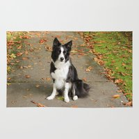 border collie Area & Throw Rugs featuring Sparkles the Border Collie by shamik