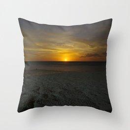 carribbean beach night moonrise. Throw Pillow
