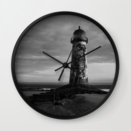 Talacre Lighthouse Black And White Wall Clock
