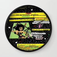 """hentai Wall Clocks featuring Space Chick & Nympho: Vampire Warrior Party Girl Comix #1 - Comic Book Page """" In A Galaxy Not So Far by Tex Watt"""