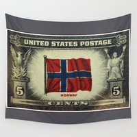 norway Wall Tapestries featuring Flag of Norway by lanjee