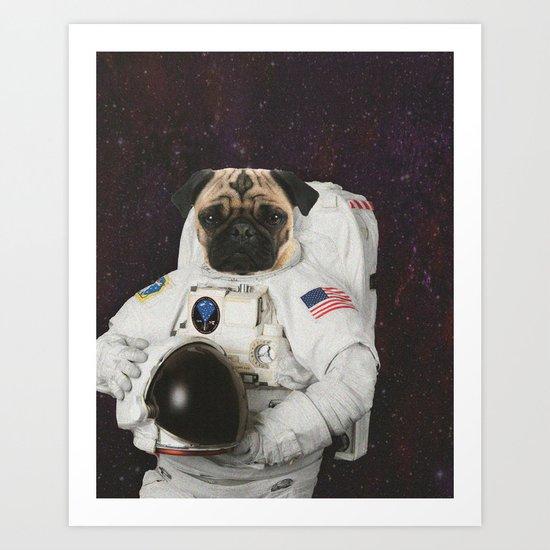 First Pug On The Moon Art Print