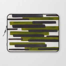 Olive Green Primitive Stripes Mid Century Modern Minimalist Watercolor Gouache Painting Colorful Str Laptop Sleeve