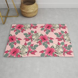 Classy cactus flowers and leopards design Rug