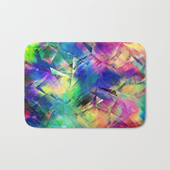 Abstract Colorful Shapes and Textures Bath Mat