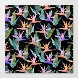 Birdie Tropical Black Canvas Print