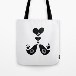 Scandinavian Love Birds Tote Bag