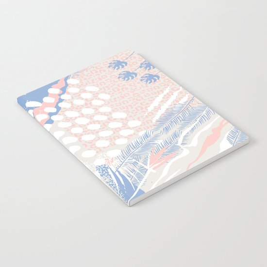 wild cats winter print (rose quartz and serenity) Notebook