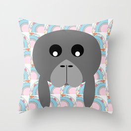 Rainbow Manatee Throw Pillow