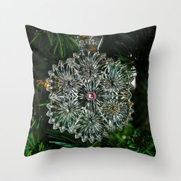 Snowcrystal Ornament 2016- horizontal Throw Pillow
