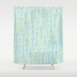 Victorian Pastel Turquoise Keys Shower Curtain