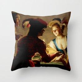 """Gerard van Honthorst """"The procuress"""" Throw Pillow"""