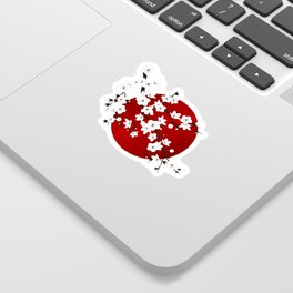 Red Black And White Cherry Blossoms Sticker
