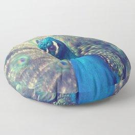 Peacock in the courtship Floor Pillow