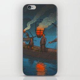Beautiful Vintage Japanese Woodblock Print Japanese Fisherman Flame Torch iPhone Skin