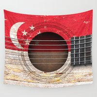 singapore Wall Tapestries featuring Old Vintage Acoustic Guitar with Singapore Flag by Jeff Bartels