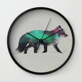 Fox In The Aurora Borealis Wall Clock