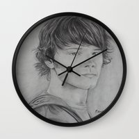 sam winchester Wall Clocks featuring Sam Winchester by Brooke Shane