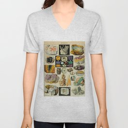 Minerals Vintage Scientific Illustration French Language Encyclopedia Lithographs Educational Diagra Unisex V-Neck