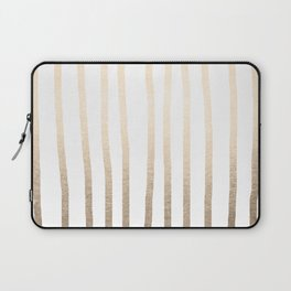 Simply Drawn Vertical Stripes in White Gold Sands Laptop Sleeve