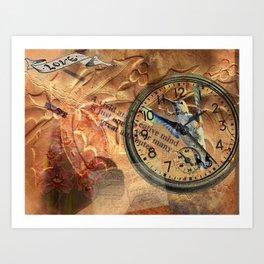 Hummingbird Watch Collage Art Print