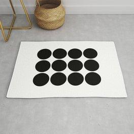 Geometric Black Circles Rug