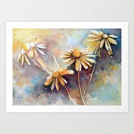 Purple Dream Garden, watercolor explorations Art Print