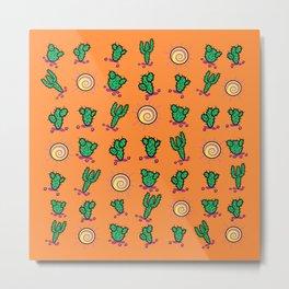 Sunny Cacti In The Arizona Desert - Orange Metal Print