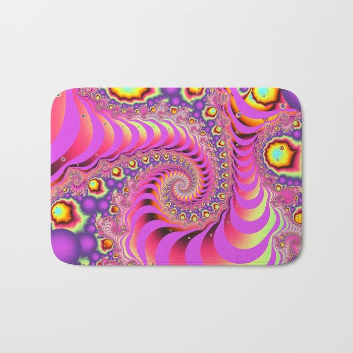 Colourful spiral motion, fractal abstract art Bath Mat