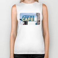 cafe Biker Tanks featuring Mom's Cafe by KJEANPHOTOGRAPHY