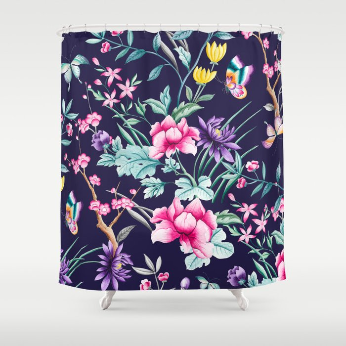 Chinoiserie French Navy Floral Shower Curtain By Peggieprints