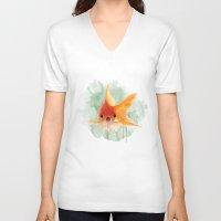 goldfish V-neck T-shirts featuring Goldfish by Sarah Sutherland