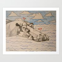 hippo Art Prints featuring Hippo by Caesarie