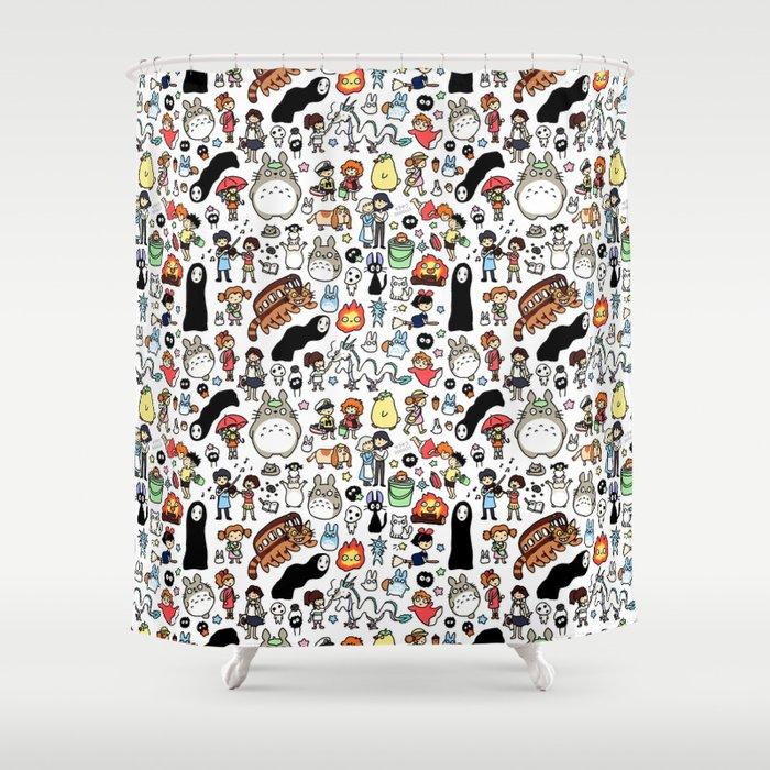 Kawaii Ghibli Doodle Shower Curtain