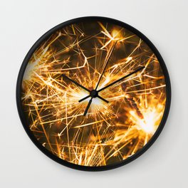 Festive Fireworks Sparklers For Holidays Wall Clock