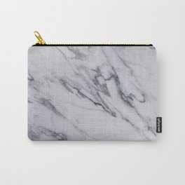 Marble - Black and White Gray Swirled Marble Design Carry-All Pouch