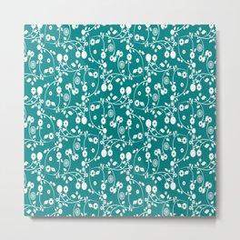 Teal Green Floral Pattern Metal Print