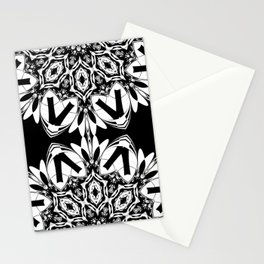 HALF BLACK AND WHITE MANDALA  Stationery Cards