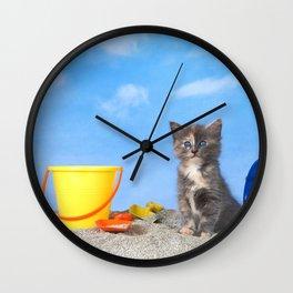 Kitten Fun in the Sun Beach Time Wall Clock