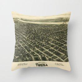 Aero view Map of Tulsa Oklahoma (1918) Throw Pillow