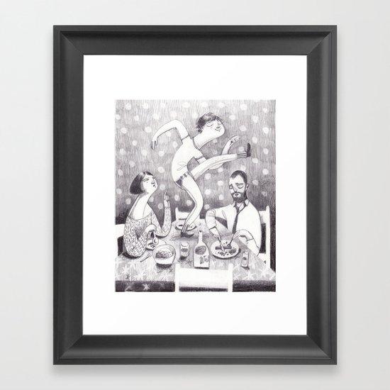 paul dances at the dinner table Framed Art Print