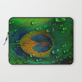 Drops on peacock  (This Artwork is a collaboration with the talented artist Agostino Lo coco) Laptop Sleeve