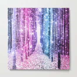 Magical Forest : Pastel Pink Lavender Aqua Periwinkle Ombre Metal Print