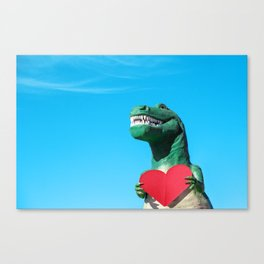 Tiny Arms, Big Heart: Tyrannosaurus Rex with Red Heart Canvas Print